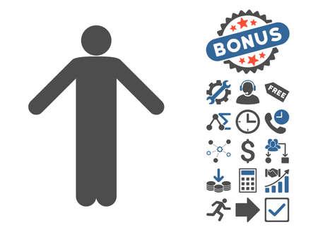 Ignorance Pose icon with bonus pictogram. Glyph illustration style is flat iconic bicolor symbols, cobalt and gray colors, white background. Stock Photo