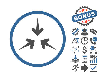 Impact Arrows icon with bonus pictures. Glyph illustration style is flat iconic bicolor symbols, cobalt and gray colors, white background.
