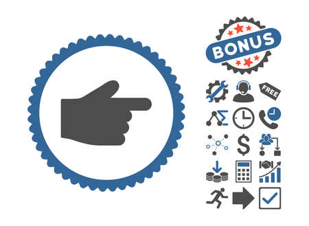 propel: Index Finger icon with bonus design elements. Glyph illustration style is flat iconic bicolor symbols, cobalt and gray colors, white background.