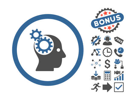 intellect: Intellect Gears pictograph with bonus icon set. Glyph illustration style is flat iconic bicolor symbols, cobalt and gray colors, white background.