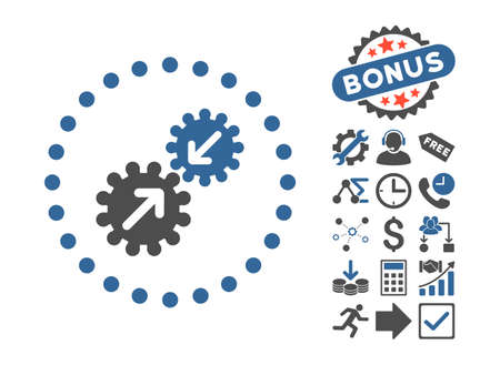 Integration pictograph with bonus pictogram. Glyph illustration style is flat iconic bicolor symbols, cobalt and gray colors, white background. Stock Photo