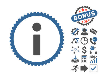 Info icon with bonus design elements. Glyph illustration style is flat iconic bicolor symbols, cobalt and gray colors, white background.