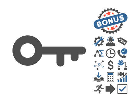 passkey: Key icon with bonus clip art. Glyph illustration style is flat iconic bicolor symbols, cobalt and gray colors, white background.