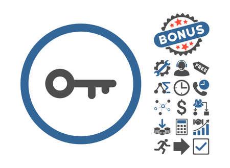 latchkey: Key icon with bonus symbols. Glyph illustration style is flat iconic bicolor symbols, cobalt and gray colors, white background. Stock Photo