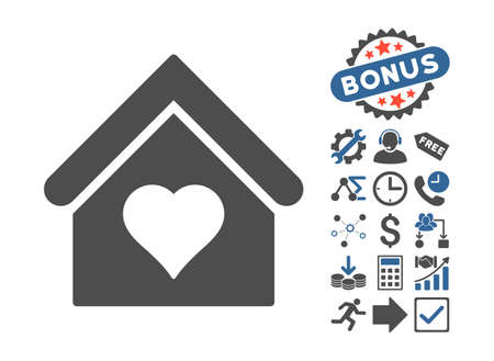 brothel: Love House icon with bonus pictogram. Glyph illustration style is flat iconic bicolor symbols, cobalt and gray colors, white background.