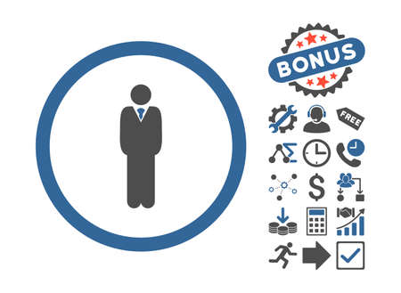 Manager icon with bonus elements. Glyph illustration style is flat iconic bicolor symbols, cobalt and gray colors, white background. Stock Photo