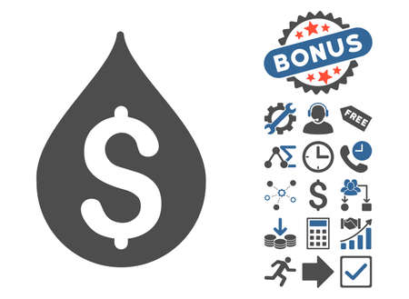 natural gas prices: Money Drop icon with bonus clip art. Glyph illustration style is flat iconic bicolor symbols, cobalt and gray colors, white background. Stock Photo