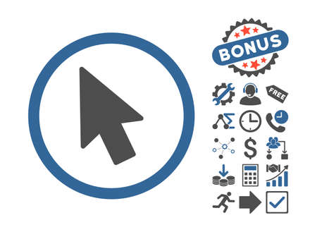 mouse pointer: Mouse Pointer pictograph with bonus pictograph collection. Glyph illustration style is flat iconic bicolor symbols, cobalt and gray colors, white background.