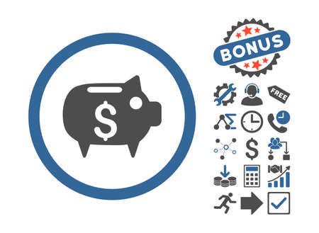 capital gains: Piggy Bank icon with bonus pictures. Glyph illustration style is flat iconic bicolor symbols, cobalt and gray colors, white background.