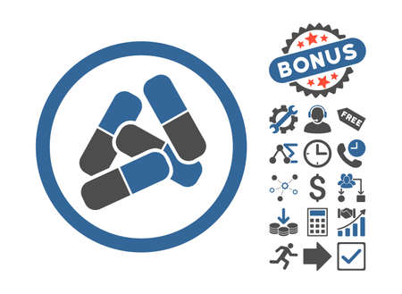 Pills pictograph with bonus images. Glyph illustration style is flat iconic bicolor symbols, cobalt and gray colors, white background.