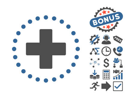 Plus icon with bonus images. Glyph illustration style is flat iconic bicolor symbols, cobalt and gray colors, white background.