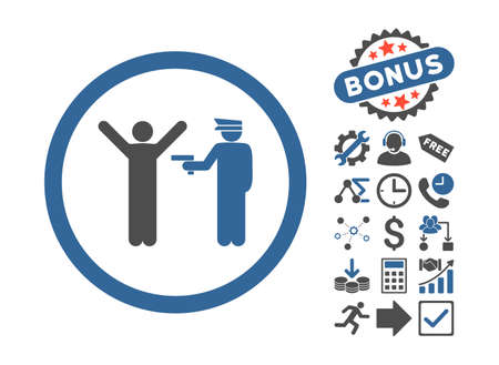police arrest: Police Arrest icon with bonus pictogram. Glyph illustration style is flat iconic bicolor symbols, cobalt and gray colors, white background.