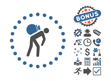 Porter icon with bonus images. Glyph illustration style is flat iconic bicolor symbols, cobalt and gray colors, white background.