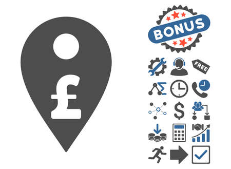 Pound Map Marker icon with bonus images. Glyph illustration style is flat iconic bicolor symbols, cobalt and gray colors, white background.