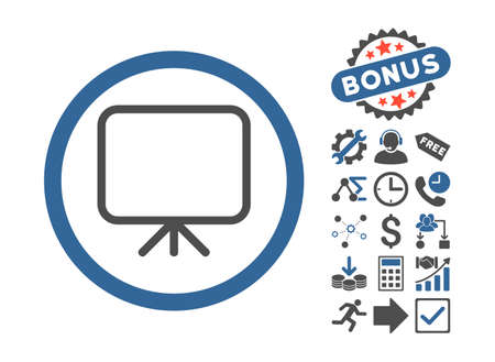 presentation screen: Presentation Screen icon with bonus icon set. Glyph illustration style is flat iconic bicolor symbols, cobalt and gray colors, white background.