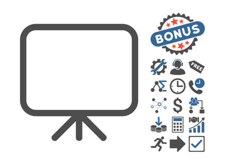 presentation screen: Presentation Screen pictograph with bonus pictures. Glyph illustration style is flat iconic bicolor symbols, cobalt and gray colors, white background. Stock Photo