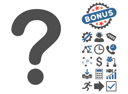 Question pictograph with bonus images. Glyph illustration style is flat iconic bicolor symbols, cobalt and gray colors, white background.