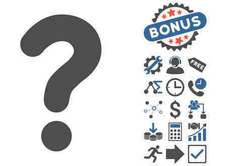 sql: Question icon with bonus pictogram. Glyph illustration style is flat iconic bicolor symbols, cobalt and gray colors, white background.