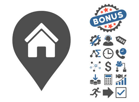 Realty Map Marker icon with bonus clip art. Glyph illustration style is flat iconic bicolor symbols, cobalt and gray colors, white background. Stock Photo