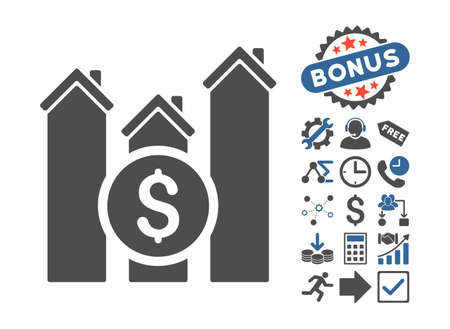 Realty Price Charts icon with bonus images. Glyph illustration style is flat iconic bicolor symbols, cobalt and gray colors, white background.