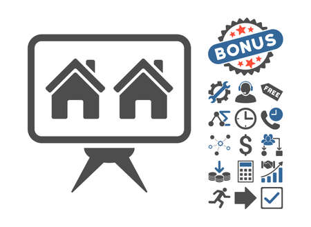 presentaion: Realty Project icon with bonus pictograph collection. Glyph illustration style is flat iconic bicolor symbols, cobalt and gray colors, white background. Stock Photo
