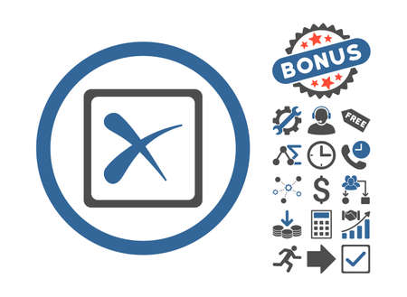 Reject pictograph with bonus elements. Glyph illustration style is flat iconic bicolor symbols, cobalt and gray colors, white background.
