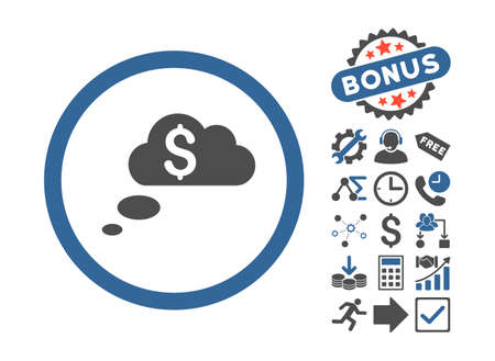 richness: Richness Dream Clouds pictograph with bonus pictograph collection. Glyph illustration style is flat iconic bicolor symbols, cobalt and gray colors, white background. Stock Photo