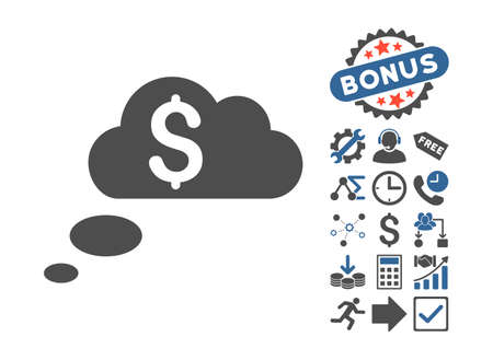 richness: Richness Dream Clouds icon with bonus images. Glyph illustration style is flat iconic bicolor symbols, cobalt and gray colors, white background. Stock Photo