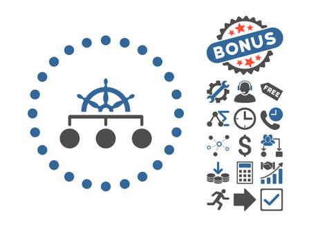 Rule pictograph with bonus symbols. Glyph illustration style is flat iconic bicolor symbols, cobalt and gray colors, white background.