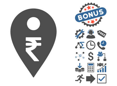 Rupee Map Marker icon with bonus pictograph collection. Glyph illustration style is flat iconic bicolor symbols, cobalt and gray colors, white background.