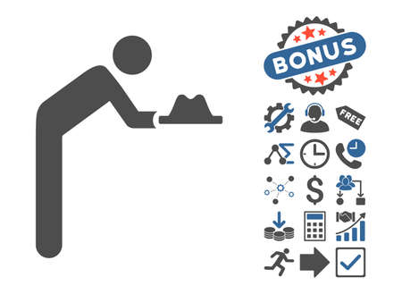 beggary: Servant With Hat pictograph with bonus design elements. Glyph illustration style is flat iconic bicolor symbols, cobalt and gray colors, white background.