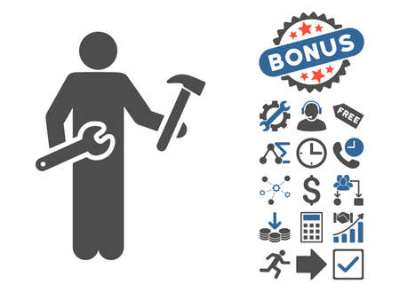 serviceman: Serviceman icon with bonus clip art. Glyph illustration style is flat iconic bicolor symbols, cobalt and gray colors, white background.