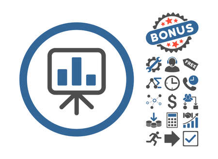slideshow: Slideshow Screen pictograph with bonus elements. Glyph illustration style is flat iconic bicolor symbols, cobalt and gray colors, white background.