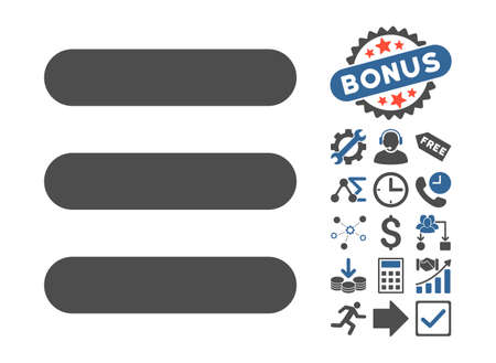 Stack pictograph with bonus clip art. Glyph illustration style is flat iconic bicolor symbols, cobalt and gray colors, white background.