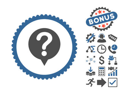 sql: Status pictograph with bonus icon set. Glyph illustration style is flat iconic bicolor symbols, cobalt and gray colors, white background.
