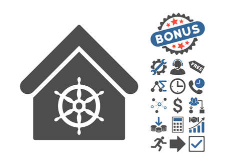 wheel house: Steering Wheel House pictograph with bonus pictures. Glyph illustration style is flat iconic bicolor symbols, cobalt and gray colors, white background. Stock Photo