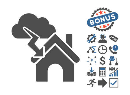 misadventure: Storm Building pictograph with bonus icon set. Glyph illustration style is flat iconic bicolor symbols, cobalt and gray colors, white background. Stock Photo