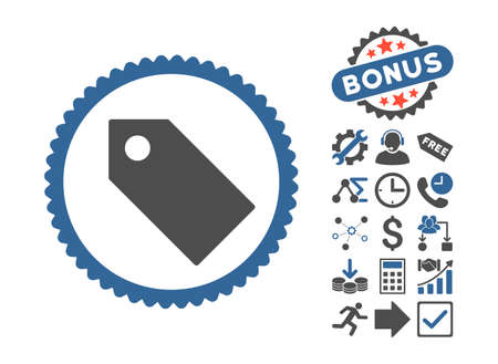Tag pictograph with bonus icon set. Glyph illustration style is flat iconic bicolor symbols, cobalt and gray colors, white background.