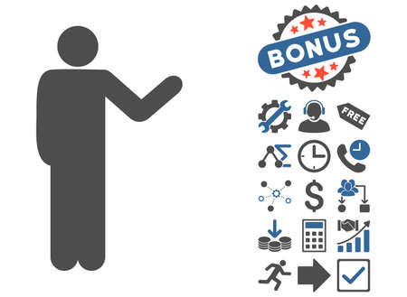 talker: Talking Man icon with bonus design elements. Glyph illustration style is flat iconic bicolor symbols, cobalt and gray colors, white background.