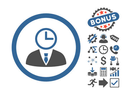 Time Manager icon with bonus images. Glyph illustration style is flat iconic bicolor symbols, cobalt and gray colors, white background.