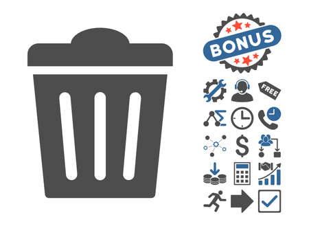 utilization: Trash Can pictograph with bonus pictogram. Glyph illustration style is flat iconic bicolor symbols, cobalt and gray colors, white background. Stock Photo
