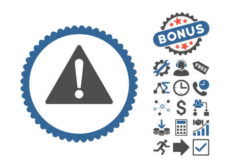 Warning pictograph with bonus icon set. Glyph illustration style is flat iconic bicolor symbols, cobalt and gray colors, white background.