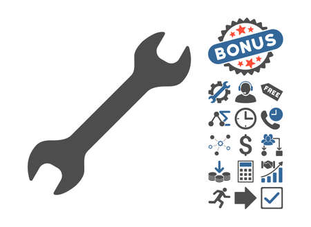 Wrench icon with bonus pictograph collection. Glyph illustration style is flat iconic bicolor symbols, cobalt and gray colors, white background.