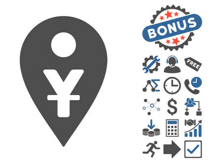 Yuan Map Marker pictograph with bonus pictogram. Glyph illustration style is flat iconic bicolor symbols, cobalt and gray colors, white background.
