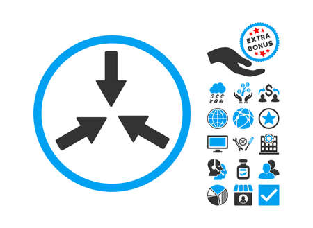 collide: Collide Arrows pictograph with bonus pictogram. Glyph illustration style is flat iconic bicolor symbols, blue and gray colors, white background. Stock Photo