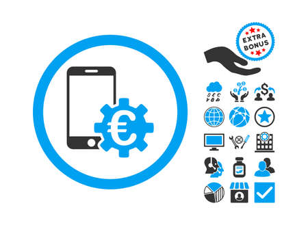 configure: Configure Mobile Euro Bank icon with bonus pictogram. Glyph illustration style is flat iconic bicolor symbols, blue and gray colors, white background. Stock Photo