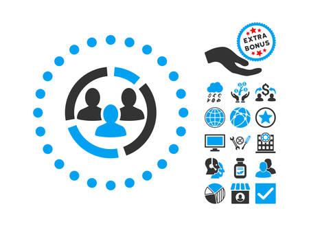 demografia: Diagrama icono de la demografía con el icono de bonus de conjunto. estilo de ilustración glifo es plana símbolos icónicos bicolor, colores azul y gris, fondo blanco.