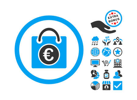 Euro Shopping Bag icon with bonus elements. Glyph illustration style is flat iconic bicolor symbols, blue and gray colors, white background. Stock Photo