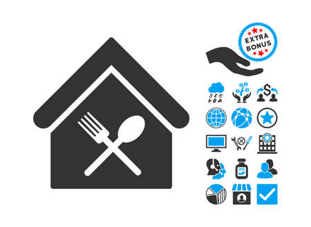 food court: Food Court pictograph with bonus pictures. Glyph illustration style is flat iconic bicolor symbols, blue and gray colors, white background.