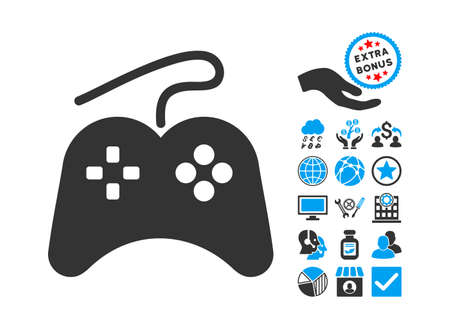 wii: Gamepad icon with bonus pictures. Glyph illustration style is flat iconic bicolor symbols, blue and gray colors, white background. Stock Photo